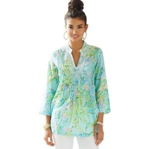 Lilly Pulitzer Sarasota Beaded Tunic Top Sz Large